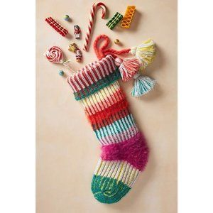 Anthropologie Piper Striped Christmas Stocking